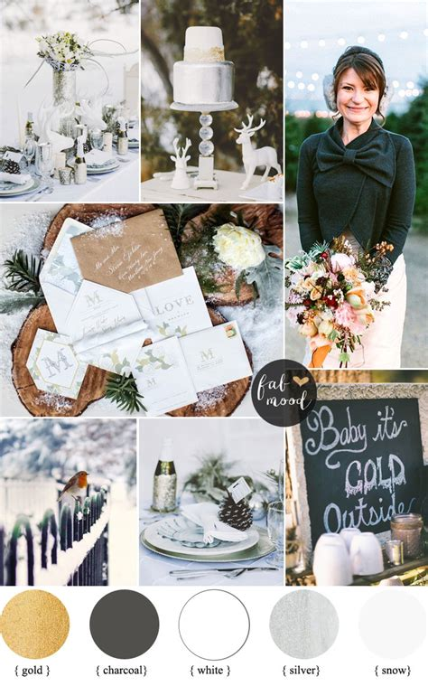 winter wonderland wedding themecharcoal white metallic