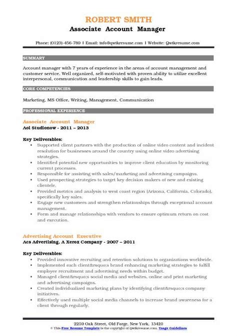 My Resume Cost by Associate Account Manager Resume Sles Qwikresume