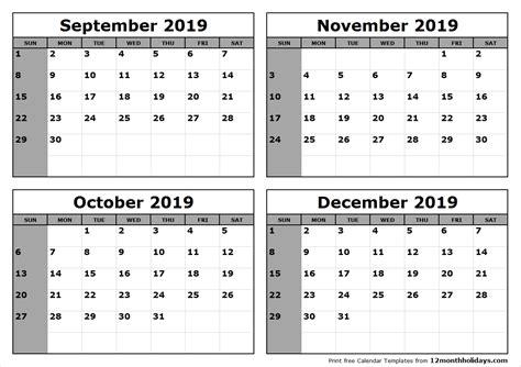calander   september trough december template