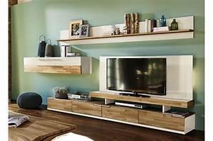 Banc Tv Suspendu : meuble tv mural ch ne massif blanc ~ Teatrodelosmanantiales.com Idées de Décoration