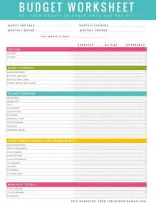 Free Printable Household Budget Worksheets