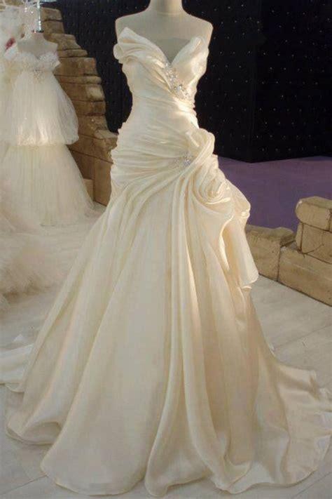 ruffles cream satin wedding dress  beadings elegant