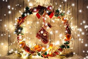 Wallpaper Christmas, New Year, Wreath, garland, gift ...