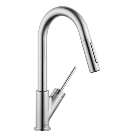 hansgrohe kitchen faucet hansgrohe axor starck prep single handle pull sprayer