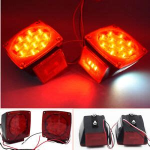 Pcs Boat Red Square Led Lights Trailer Under Tail