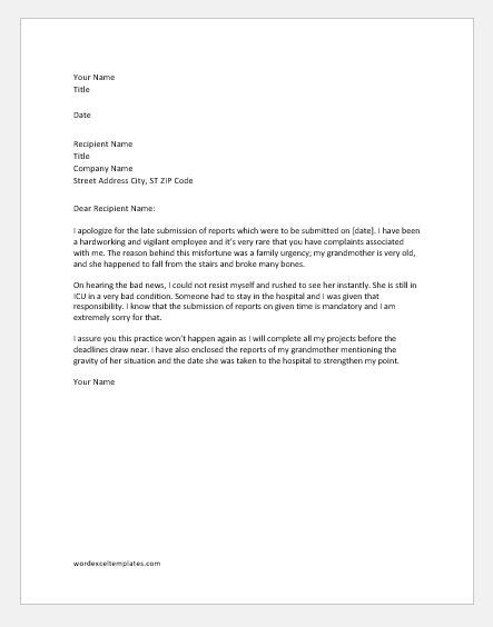 explanation letter  late submission  reports word