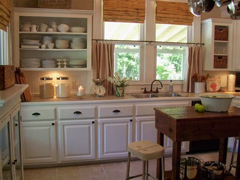 Kitchen Curtain Ideas Photos - terrific fabric double sliding half windows and white kitchen cabinets as well as old wood