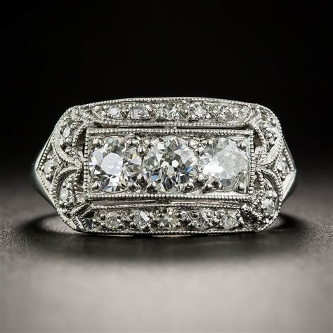 Art Deco Platinum And Diamond Cigar Band Style Ring