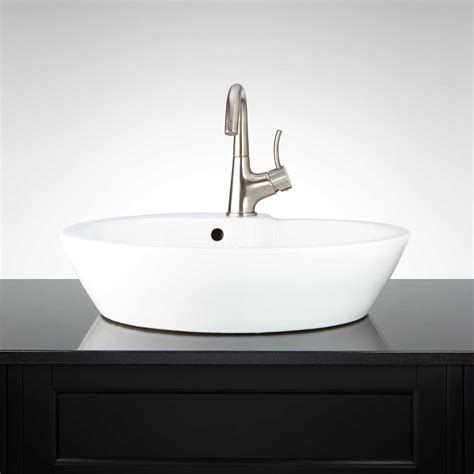 white oval vessel sink signature hardware cotrana oval porcelain vessel white