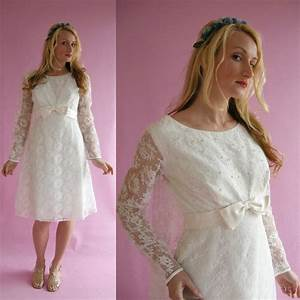 on hold white lace vintage 60s short wedding dress by With 60s wedding dress