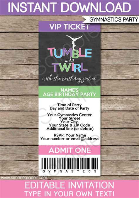 gymnastics party ticket invitations birthday party