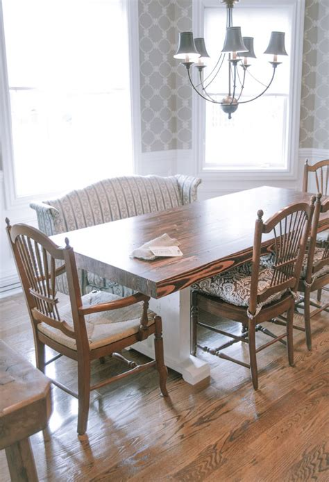 butcher block style farmhouse table solid wood top