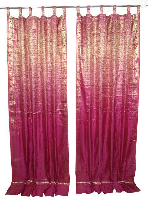 brocade drapes 2 sari curtains pink golden brocade silk sari drapes