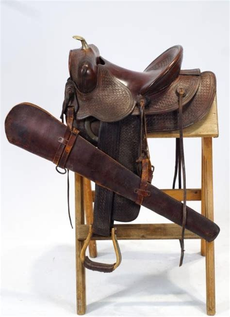 saddle scabbard rifle heiser denver western cowboy saddles gun gear lot action lever quality liveauctioneers