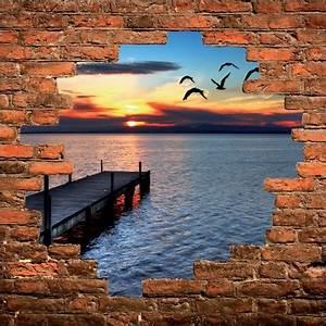 Mur Trompe L Oeil : sticker mural trompe l il mur de pierre coucher de soleil sur mer stickers muraux deco ~ Melissatoandfro.com Idées de Décoration