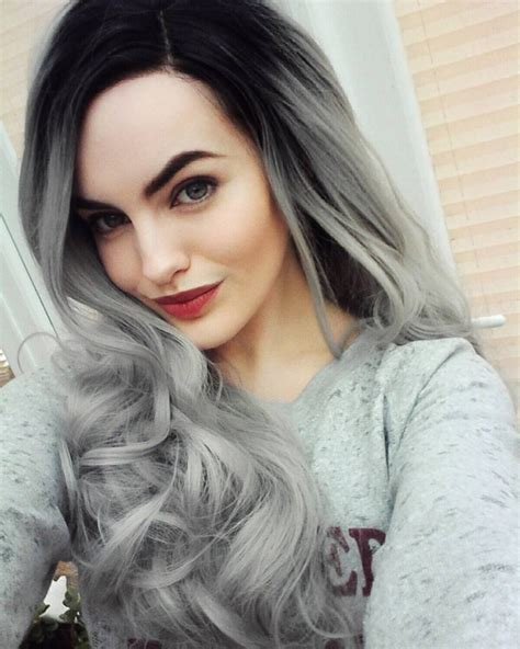 hair color grey magnifying ombre grey hair colors pretty hairstyles