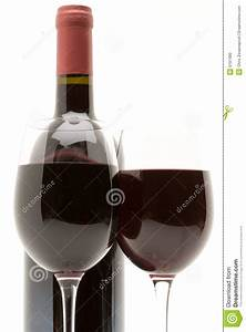 Red Wine Bottle With Two Glasses Of Red Wine Stock Photo ...
