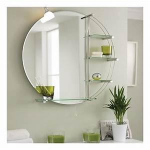 Miroir Rond Salle De Bain : miroir eclairant rond de salle de bains avec tag res ~ Nature-et-papiers.com Idées de Décoration