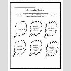 Selfcontrol Thought Bubbles Worksheet Tpt