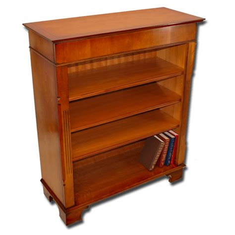 Reproduction Bookcase by Reproduction Low Regency Open Bookcase In Yew And Mahogany