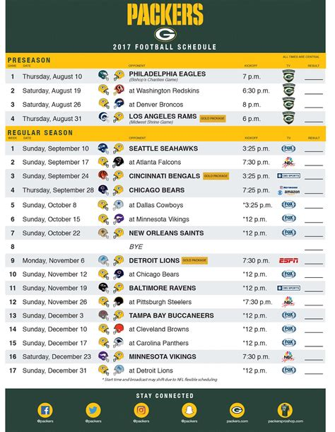 packerville usa  nfl schedule released