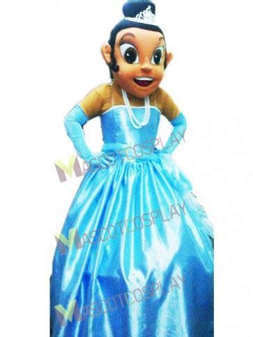 princess tiana  blue dress mascot costume