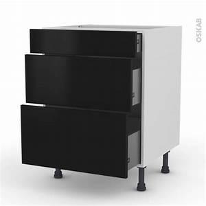 Meuble Cuisine Noir : meuble de cuisine casserolier ginko noir 3 tiroirs l60 x ~ Melissatoandfro.com Idées de Décoration