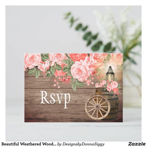 RSVP Beautiful Rustic Floral Chic Pink Roses Beautiful