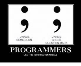 ub ue greek semicolon question mark programmers