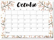 Calendario imprimible octubre 2016 #printable