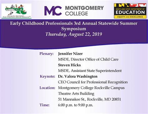 montgomery college early childhood professionals annual statewide