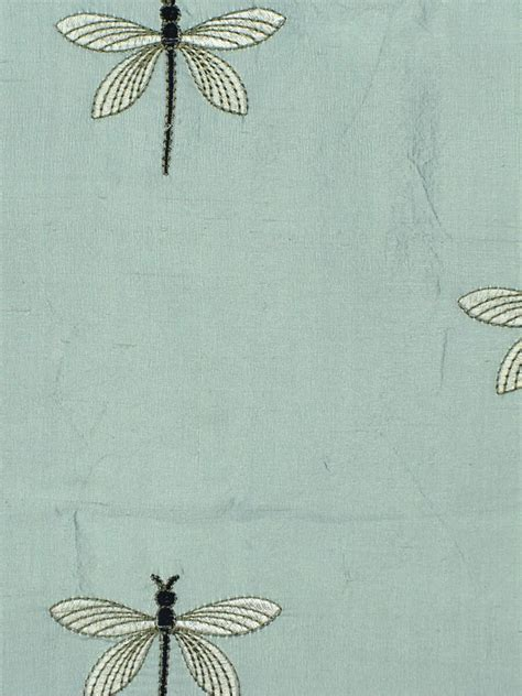 halo embroidered dragonflies dupioni silk custom  curtains