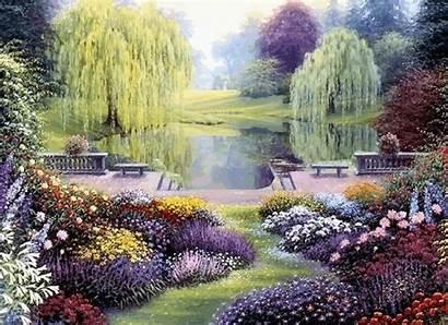 Garden Animated Landscape River Animation Gardens Moving