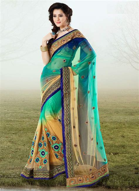 designer sarees grand green net designer saree