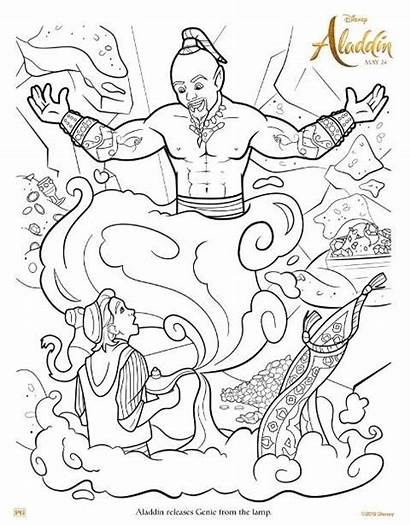 Aladdin Coloring Genie Pages Lamp Printable Sheet