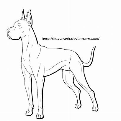 Dane Coloring Dog Printable Library Lineart
