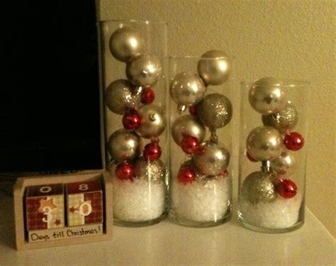 dollar store christmas bulbs fake snow  left