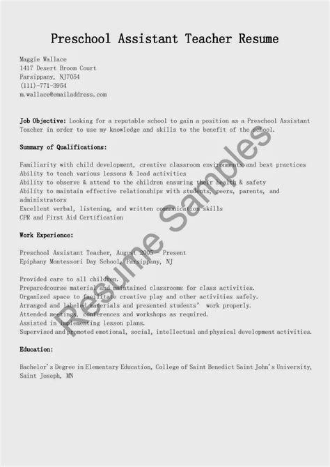 preschool resume samples resume samples preschool head teacher resume sample