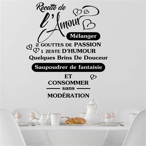 sticker pour carrelage cuisine sticker citation recette de l 39 amour stickers citations