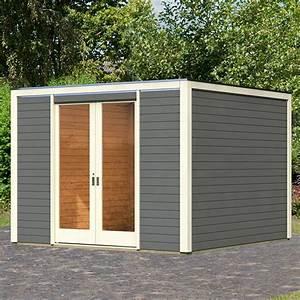 Abri Porte Entrée : abri toit plat 10 24m en bois vitrifi gris 28mm entr e ~ Edinachiropracticcenter.com Idées de Décoration