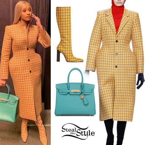 Cardi B: Yellow Checked Coat and Boots | Steal Her Style