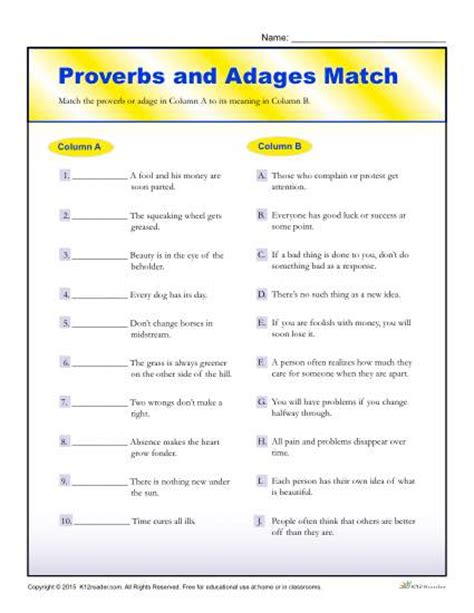 reading comprehension for 5th graders proverbs and adages match worksheet for 4th and 5th grade
