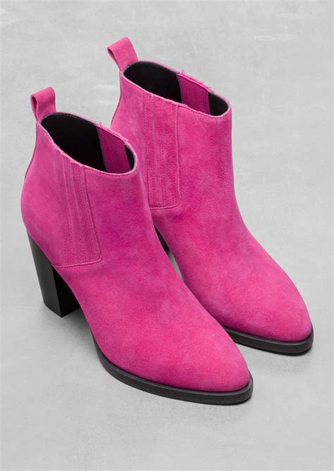 Other Stories Suede Ankle Boots In Pink Lyst