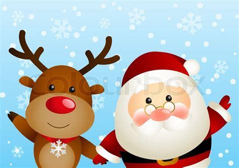 lustige weihnachtsmann bilder lustige weihnachtsmann und hirsch vektorgrafik colourbox
