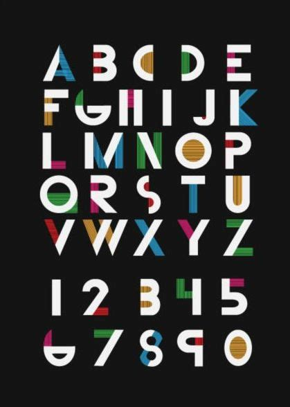 fashion alphabet  numbers vector vector font
