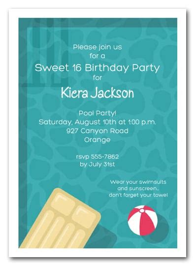 sweet sixteen cool pool swimming party invitations
