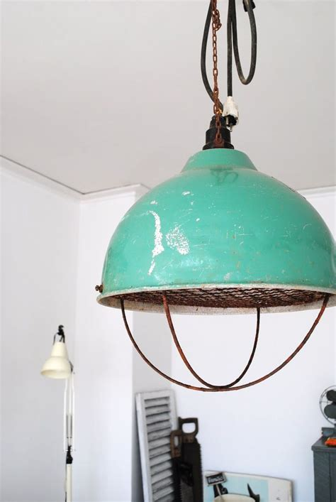 industrial pendant l in blue cafe