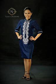 56a75405d23 Sale Modern FILIPINIANA Dress Denim BARONG TAGALOG for her Philippine  National Costume - Navy Blue