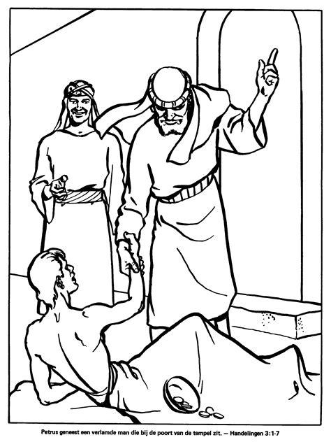 Kleurplaat Jezus Genezing Blindeeen Verlamde by Kleurplaten Paradijs Kleurplaat Petrus Geneest Een
