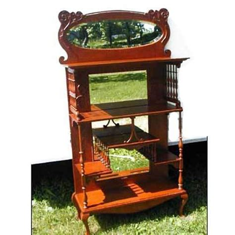 Etagere Vintage by Oak Etagere With Gallery And Mirrors Ornate